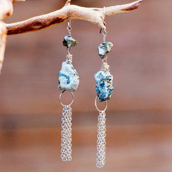 PYRITE LG ROCK CHAIN BROOM EARRINGS