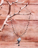 PYRITE 2 CHAIN 3 ROCK DROP NECKLACE