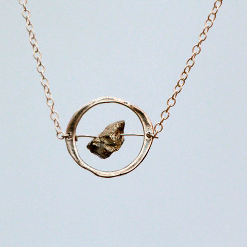 PYRITE NUGGET IN HALO NECKLACE