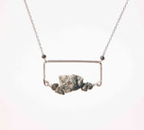 PYRITE RECT BOX LG CHUNK ROCK NECKLACE