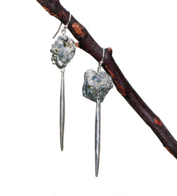 PYRITE LARGE CHUNK DAGGER EARRINGS