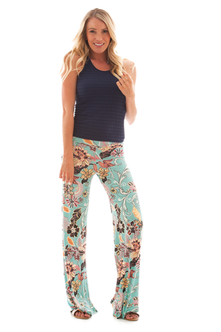 IRDC-Palazzo Pant - Textured Floral Print 428