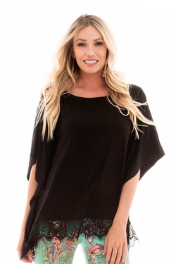 IRDC-Poncho with Lace - Blk