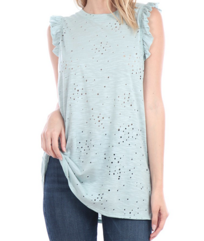 Distressed Tank Top - Sage