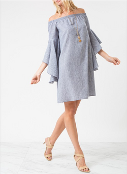 H-Low Bell Sleeve Off Shoulder Dress