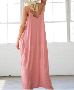 Low Back Spaghetti Strap Maxi Dress - Marsala