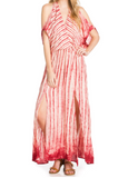 Woven Maxi Dress with Open Shoulders