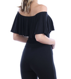 IRDC Off the shoulder Ruffle Bodysuit - Black