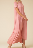 Short Sleeve Long Dress with Pockets - Peach