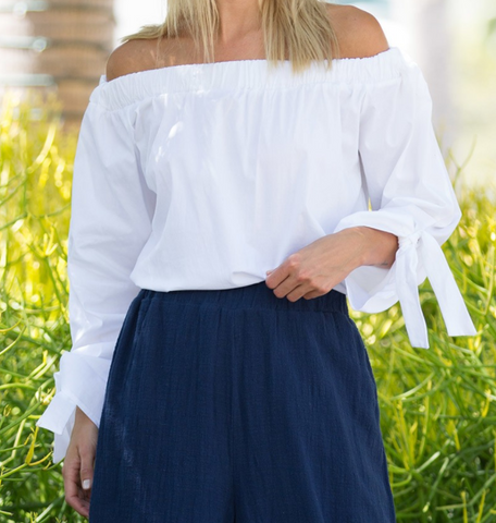 Knotted ties Off the Shoulder Top - White