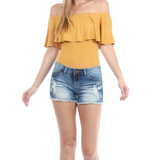 Off the Shoulder Ruffle Bodysuit - Mustard