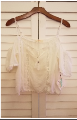 Off the Shoulder Cami Lace Top - White
