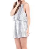 IRDC Striped spaghetti strap open back romper - White + Navy