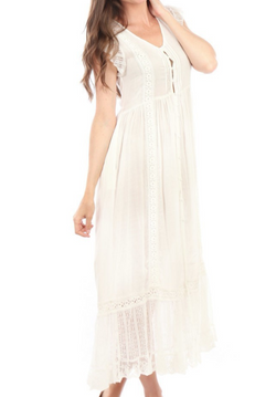 Button up lace maxi Dress - Ivory