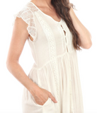 IRDC Button up lace maxi Dress - Ivory