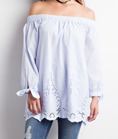Crochet Lace Detailed off the shoulder Top - Blue