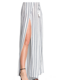Open Front Striped Pants - Navy + White