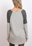 IRDC Color Blocked Waffle Top - Charcoal