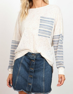 Round Neck Sweater with open back - Oatmeal + Blue