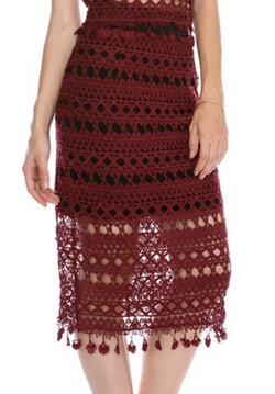 Kat Knee Length Skirt - Burgundy