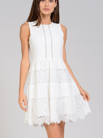 Betsy Lace Detail Dress - Ivory