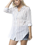 IRDC Stripe Button Down Sheer Shirt - Blue