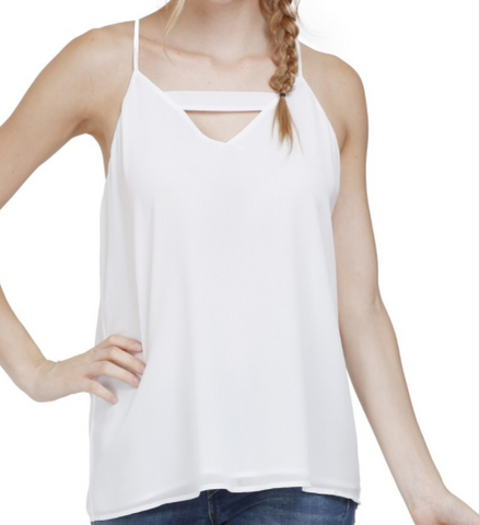 Front Cut Out Back Zipper Spagetti Strap Cami - Off White