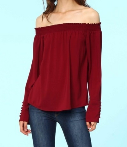 Smocked Off Shoulder Blouse - Mahogany