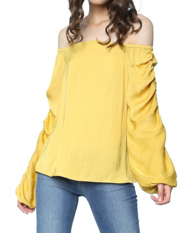 IRDC Off Shoulder Gathered Sleeve Blouse - Mustard
