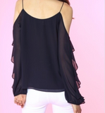 Ruffle Sleeve Off Shoulder Blouse - Black