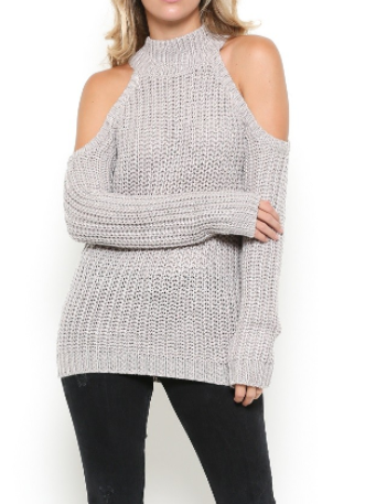 Cold Shoulder Knit Sweater - Taupe