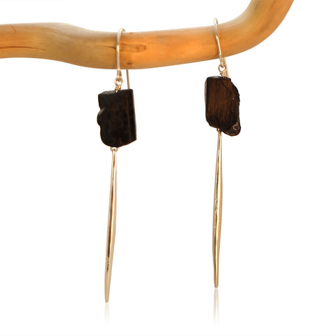 BLACK TOURMALINE FAUCET CHUNK DAGGER GOLD FILLED+PLATED EARRINGS