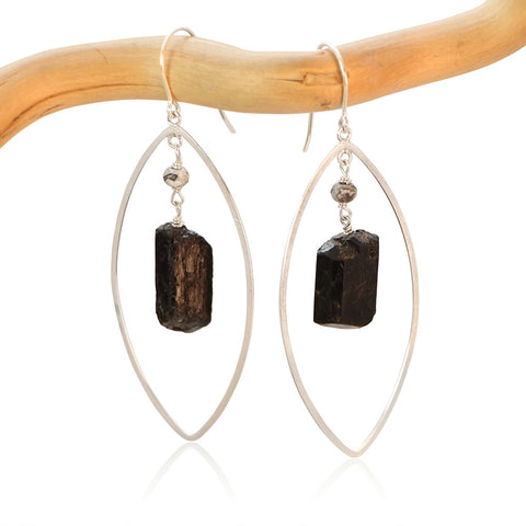 BLACK TOURMALINE LG EYE FAUCET DROP STERLING SILVER EARRINGS