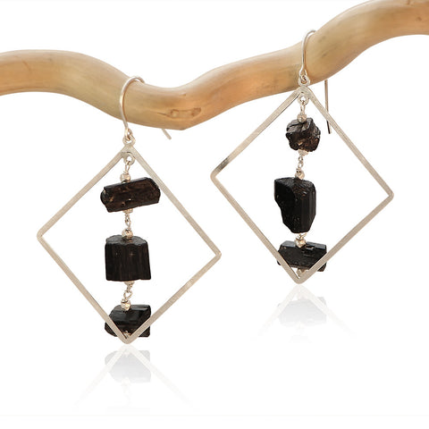 BLACK TOURMALINE SQUARE 3 DROP STERLING SILVER EARRINGS
