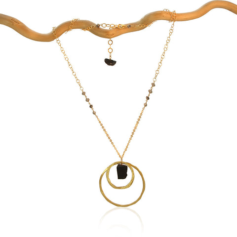 BLACK TOURMALINE 2 CIRCLES SM & LG GOLD FILLED+PLATED NECKLACE