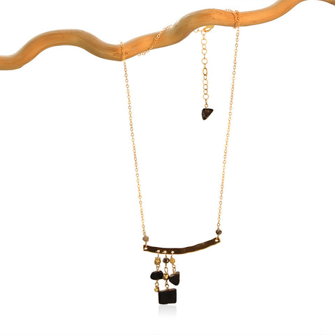 BLACK TOURMALINE 3 DROP OFFSET GOLD FILLED+PLATED NECKLACE