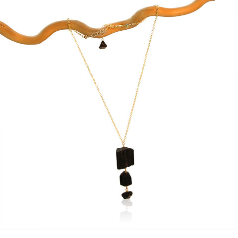 BLACK TOURMALINE 3 ROCK DROP SIMPLE WITH 3 ADDITIONS GOLD FILLED+PLATED NECKLACE