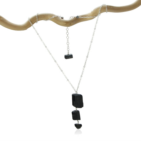 BLACK TOURMALINE 3 ROCK DROP SIMPLE WITH 3 ADDITIONS STERLING SILVER NECKLACE