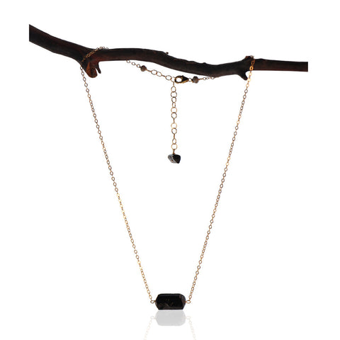 BLACK TOURMALINE CHUNK GOLD FILLED NECKLACE