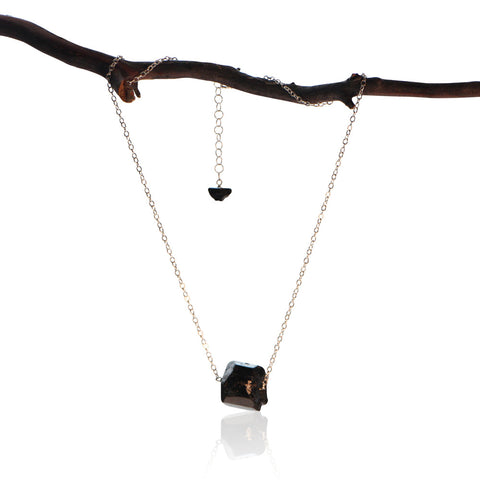 BLACK TOURMALINE ROCK LEATHER STERLING SILVER CHAIN MENS NECKLACE
