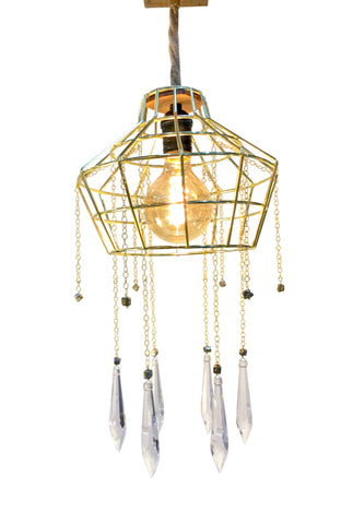 VINTAGE Hat CAGE Light with Pyrite & Swarovski Crystals