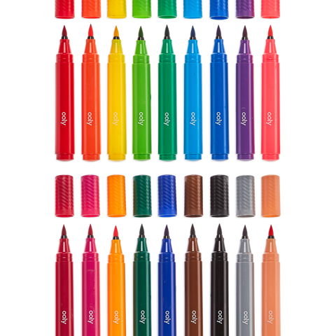 Ooly - Big Bright Brush Markers - set of 18