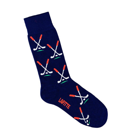 Lafitte Socks - Gold Club in Navy Blue: Size EU 39-45