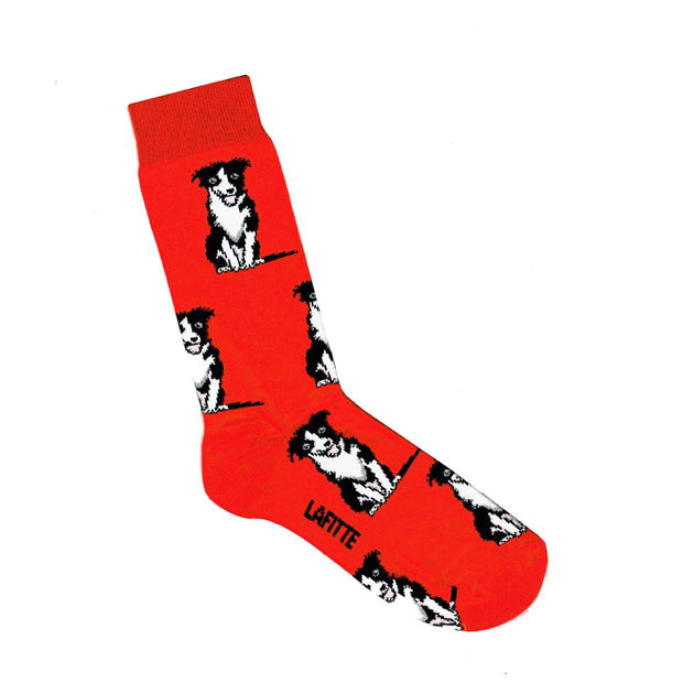 Lafitte Socks - Border Collie in Red