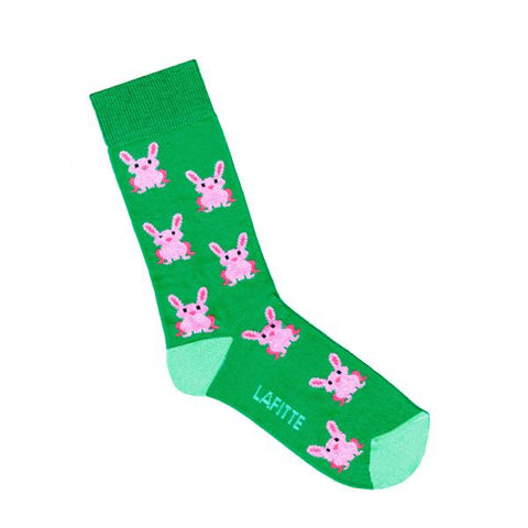 Lafitte Socks - Rabbits in Green: Size AU KIDS 13-3