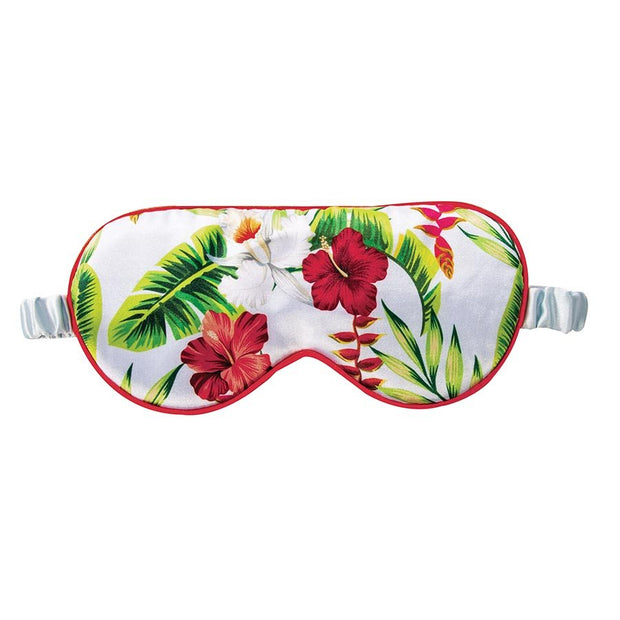 Satin Sleep Mask - Green and Red Flower Leaf Tropical