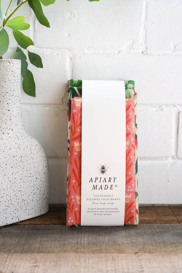 Apiary Made Large Beeswax Wraps (3 Pack)