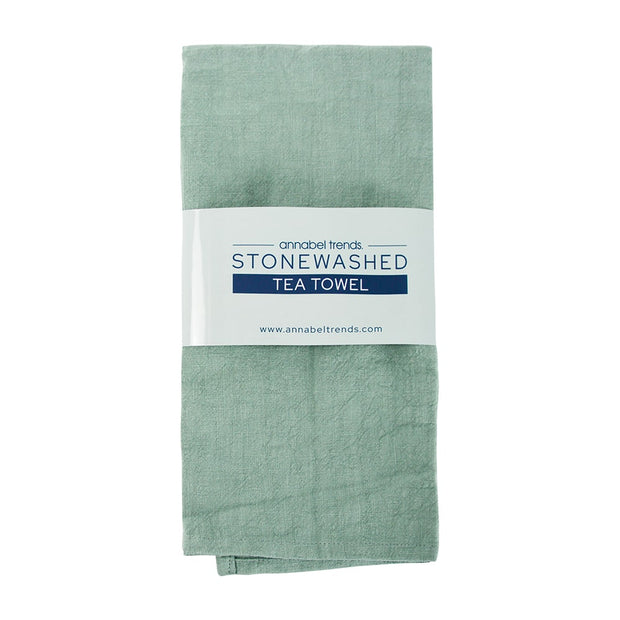 Annabel Trends - Stonewashed Tea Towel - Sage