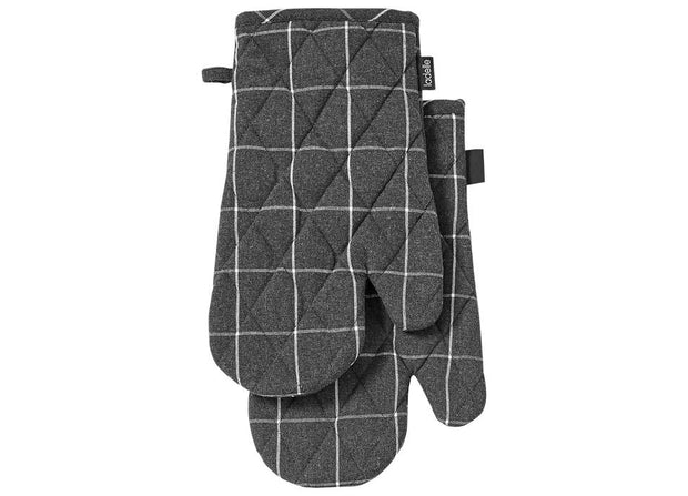 Ladelle - Eco Check 2pk Oven Mitt - Charcoal