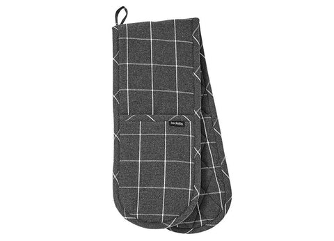 Ladelle - Eco Check Double Oven Mitt - Charcoal